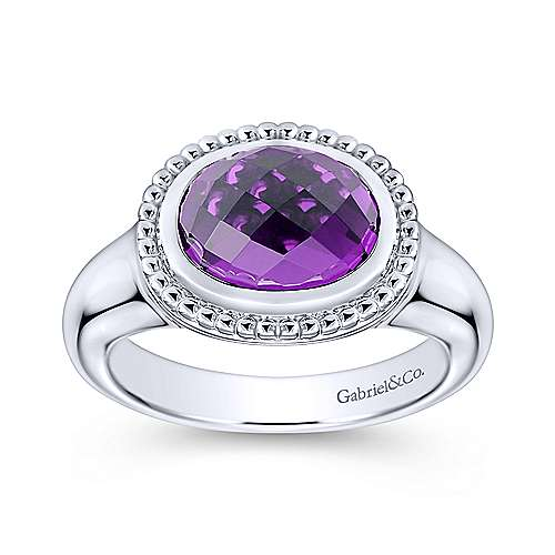 925 Sterling Silver Oval Amethyst Ring