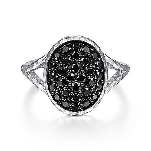 925 Sterling Silver Oval Black Spinel Pavé Ring