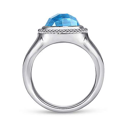 925 Sterling Silver Oval Blue Topaz Ring