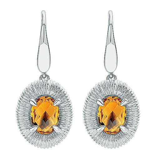 925 Sterling Silver Oval Citrine Drop Earrings