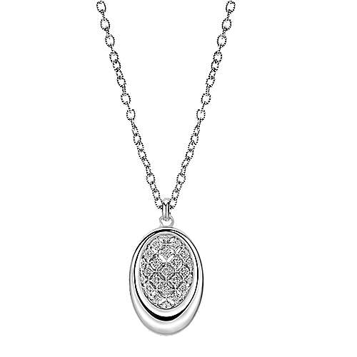 925 Sterling Silver Oval Diamond Pendant Necklace