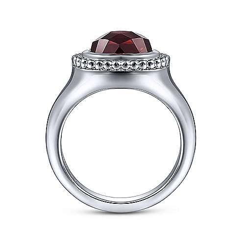 925 Sterling Silver Oval Garnet Bujukan Ring