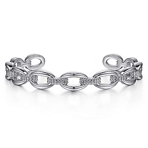 925 Sterling Silver Oval Link Cuff Bangle