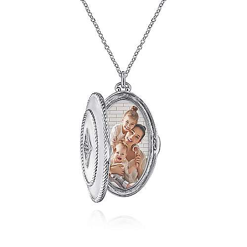 925 Sterling Silver Oval Locket Necklace with White Sapphire