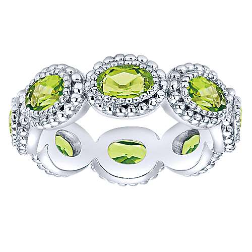 Peridot Single Gemstone 925 Sterling Silver Solitaire and Stack able Ring