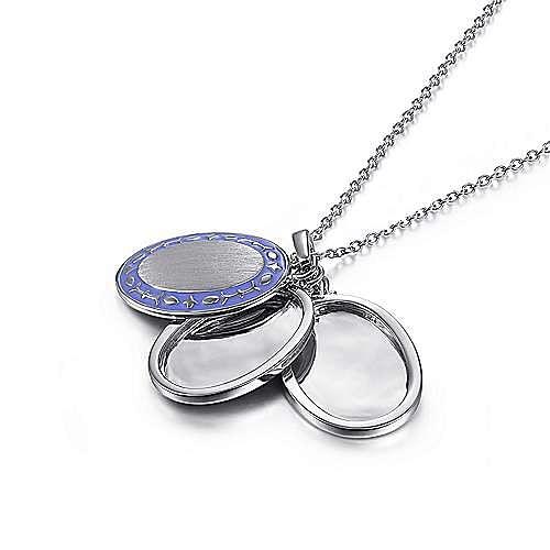 925 Sterling Silver Oval Purple Enamel Pendant Necklace