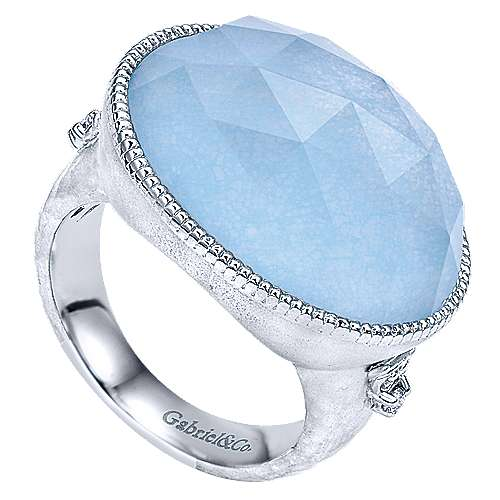 925 Sterling Silver Oval Rock Crystal/Blue Jade and Diamond Ring