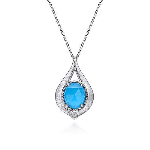 925 Sterling Silver Oval Rock Crystal and Turquoise Pendant Necklace