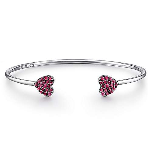 925 Sterling Silver Pavé Ruby Heart Split Cuff Bangle