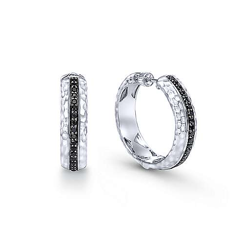925 Sterling Silver Pavé Set 20mm Round Black Spinel Classic Hoop Earrings