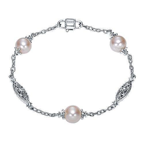 925 Sterling Silver Pearl Station Bracelet