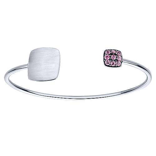 925 Sterling Silver Pink Created Zircon Engravable Open Bangle