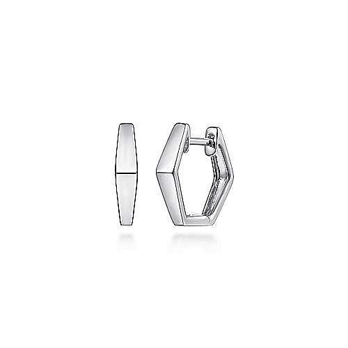 925 Sterling Silver Plain Geometric Huggies