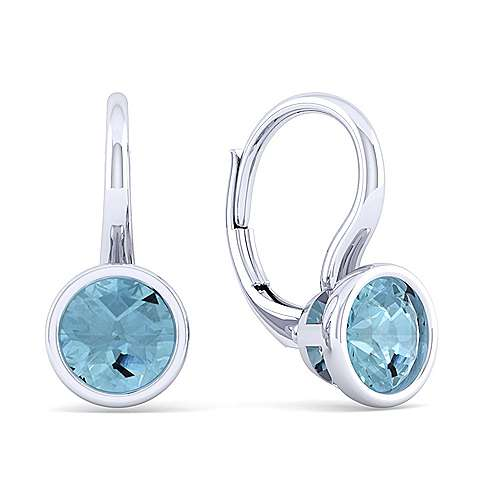 925 Sterling Silver Plated Aquamarine Leverback Earrings