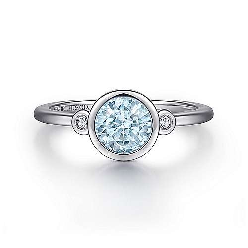 925 Sterling Silver Plated Aquamarine and Diamond Ladies Ring