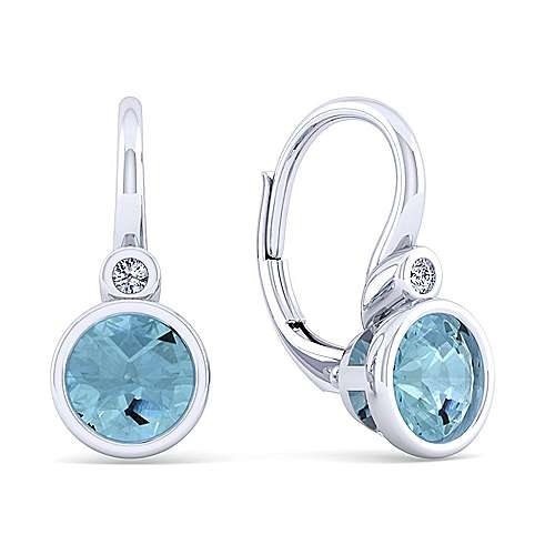 925 Sterling Silver Plated Aquamarine and Diamond Leverback Earrings
