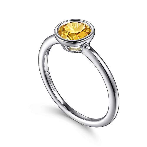 925 Sterling Silver Plated Citrine Ladies Ring