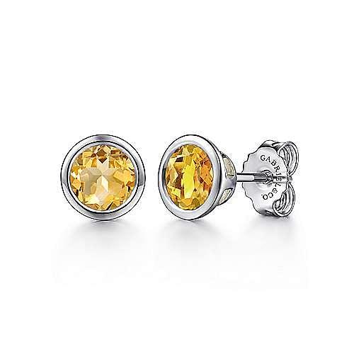 925 Sterling Silver Plated Citrine Stud Earrings
