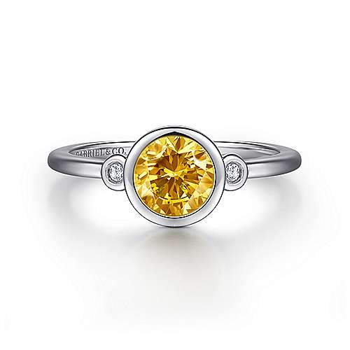 925 Sterling Silver Plated Citrine and Diamond Ladies Ring
