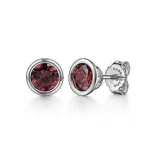 925 Sterling Silver Plated Garnet Stud Earrings