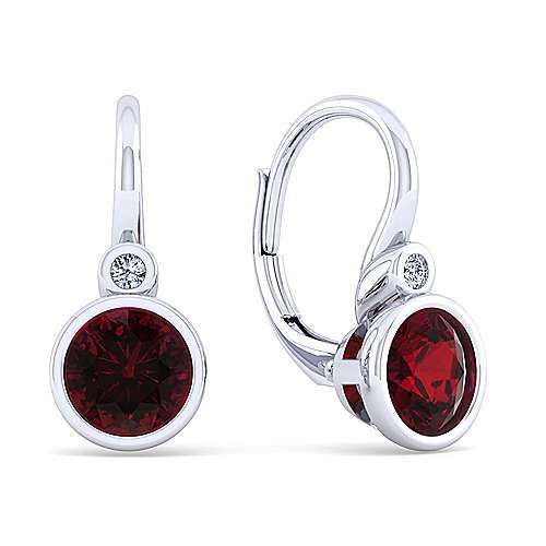 925 Sterling Silver Plated Garnet and Diamond Leverback Earrings