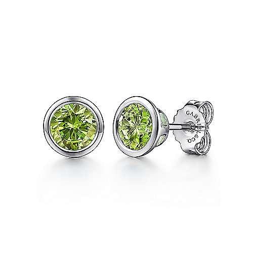 925 Sterling Silver Plated Peridot Stud Earrings