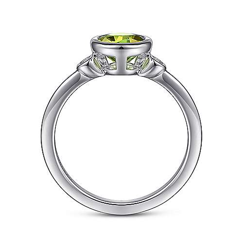 925 Sterling Silver Plated Peridot and Diamond Ladies Ring