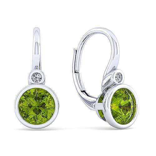 925 Sterling Silver Plated Peridot and Diamond Leverback Earrings