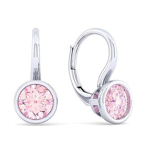 925 Sterling Silver Plated Pink Created Zircon Leverback Earrings