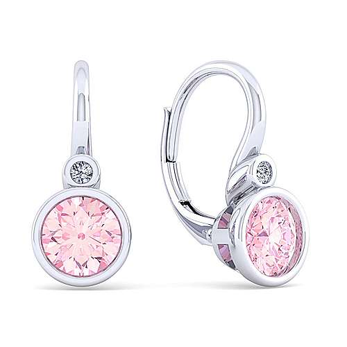 925 Sterling Silver Plated Pink Created Zircon and Diamond Leverback Earrings
