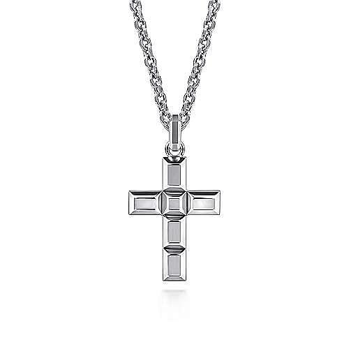 925 Sterling Silver Rectangular Station Cross Pendant
