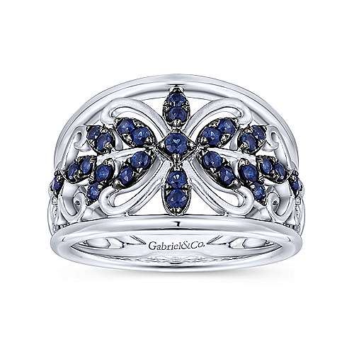 925 Sterling Silver Ring with Floral Sapphire Motif