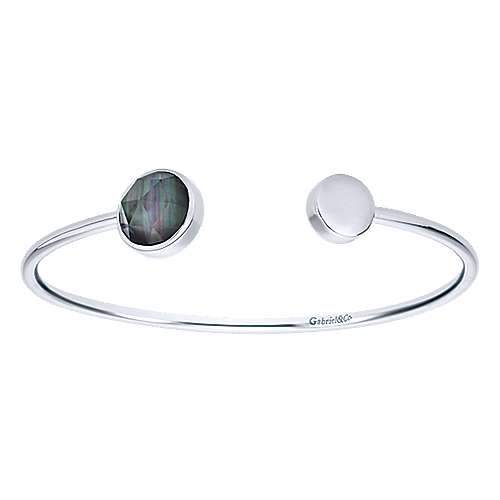 925 Sterling Silver Rock Crystal / Black Mother of Pearl Open Bangle