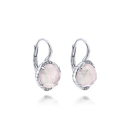 925 Sterling Silver Rock Crystal & Pink Mother of Pearl Diamond Drop Earrings