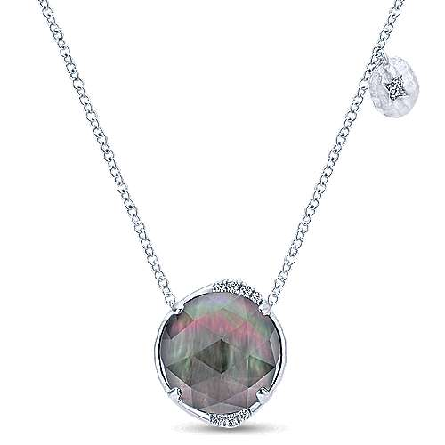 925 Sterling Silver Rock Crystal/Black MOP and Diamond Pendant Necklace