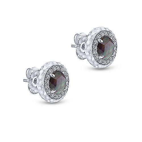 925 Sterling Silver Rock Crystal/Black MOP and White Sapphire Stud Earrings