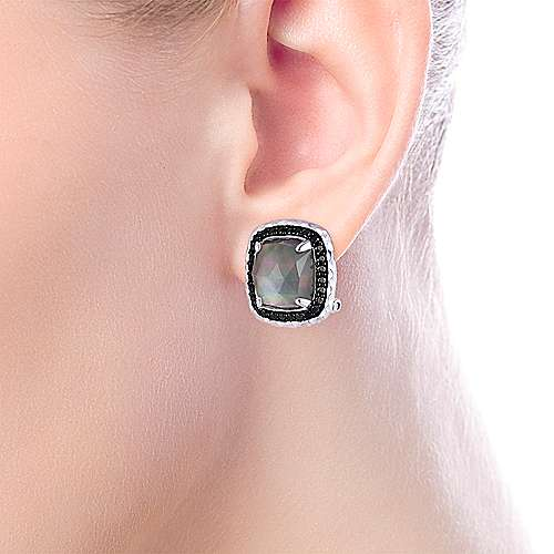 925 Sterling Silver Rock Crystal/Black MOP with Black Spinel Halo Stud Earrings