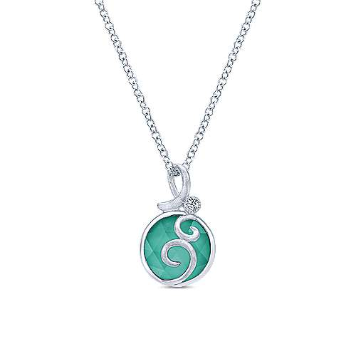 925 Sterling Silver Rock Crystal/Green Onyx Pendant Necklace with Swirls