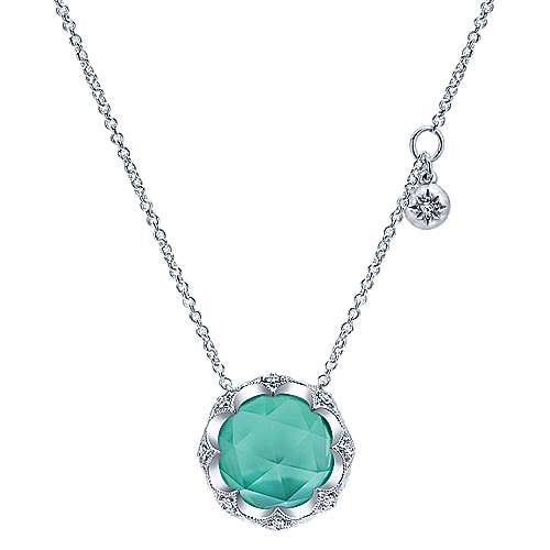 925 Sterling Silver Rock Crystal/Green Onyx Round Pendant Necklace with White Sapphire