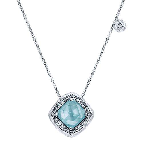 925 Sterling Silver Rock Crystal/MOP/Green Onyx Pendant Necklace with White Sapphire