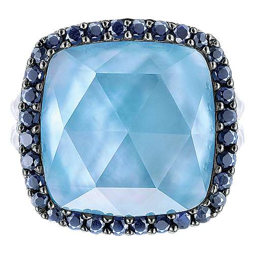 925 Sterling Silver Rock Crystal/MOP/Turquoise Cushion Cut Sapphire Halo Cocktail Ring