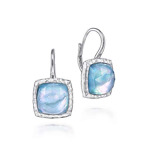 925 Sterling Silver Rock Crystal/MOP/Turquoise Cushion Drop Earrings