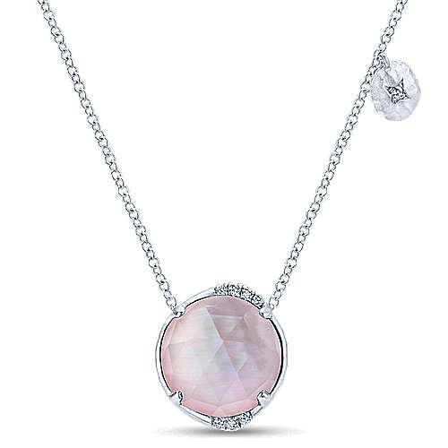 925 Sterling Silver Rock Crystal/Pink MOP and Diamond Pendant Necklace