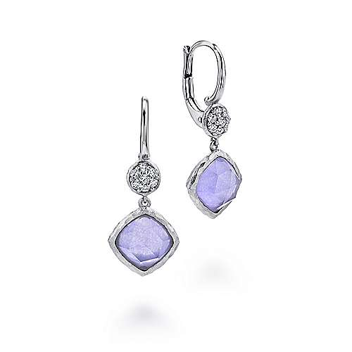 925 Sterling Silver Rock Crystal/Purple Jade Cushion Drop Earrings with White Sapphire Tops