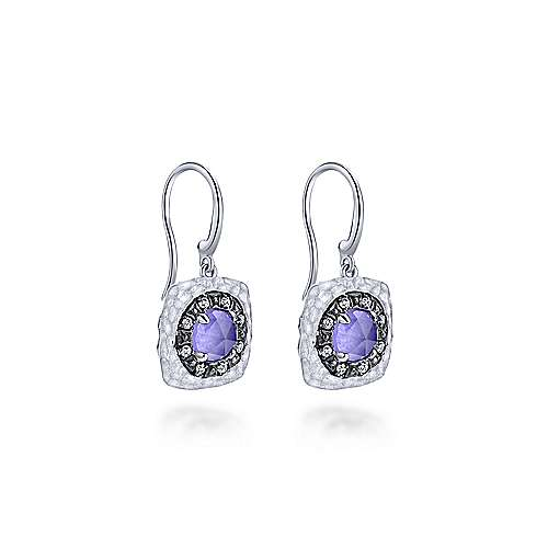 925 Sterling Silver Rock Crystal/Purple Jade and White Sapphire Drop Earrings