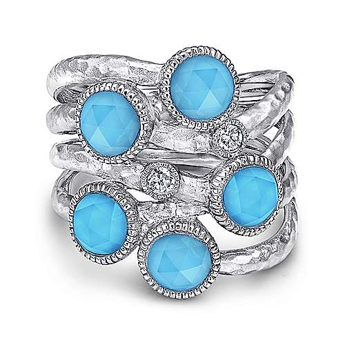 925 Sterling Silver Rock Crystal/Turquoise Bubble Ring with White Sapphire
