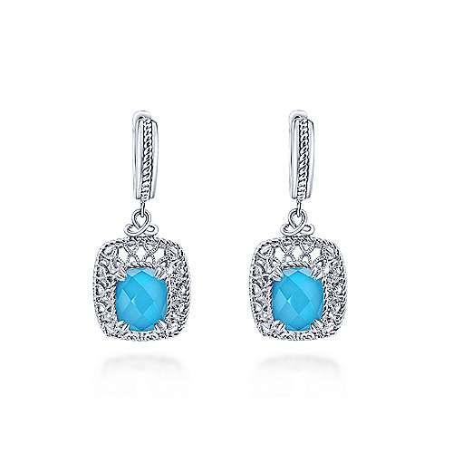 925 Sterling Silver Rock Crystal/Turquoise Filigree Drop Earrings