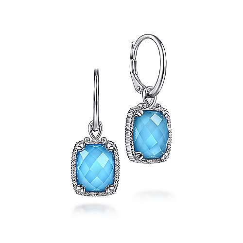 925 Sterling Silver Rock Crystal/Turquoise Long Cushion Drop Earrings