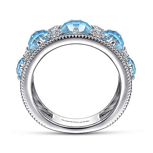 925 Sterling Silver Rock Crystal/Turquoise Stone Stations and White Sapphire Ring