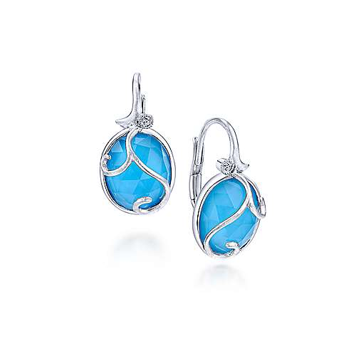 925 Sterling Silver Rock Crystal/Turquoise and Diamond Drop Earrings
